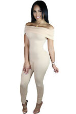 Abito Tuta Nudo Aderente Scollo Fascia Ballo Cocktail Fitting Party Jumpsuit L