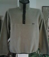 Woolrich Polartec 1/4 T-Snap Fleece Pullover Made USA Mens Large Biege Vintage