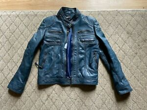Tibor Luxe Blue real Leather Motorcycle Jacket - women's M - New