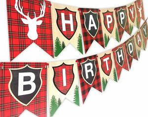 Woodland Reindeer Happy Birthday Banner Pennant Camping Party Banner