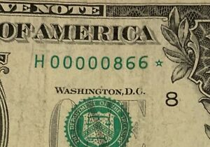 2013 $1 Star note LOW SERIAL NUMBER  ( 00000866 ) *  CIRCULATED