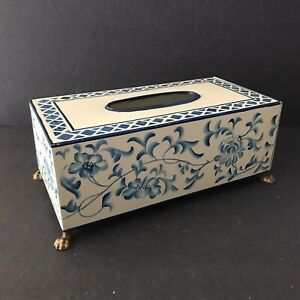 Toleware Blue And White Long Tissue Box Floral With Lion Feet Footed Tin