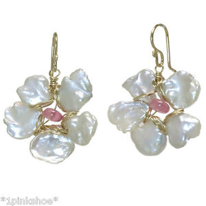 Anguilla 052 ~Keshi Pearl Flower Earrings with Stone & Metal Choice
