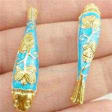 16248*2PCS Enamel Cloisonne Fish Flower 37.5mm Spacer Beads Copper