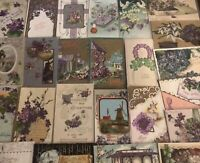 Lot of 25 Pretty *Purple~Violets Flowers~Vintage~Floral Greetings Postcards-b498