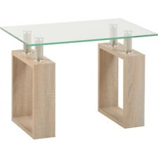 Milan Lamp Table in Sonoma Oak Effect Veneer/clear Glass/silver