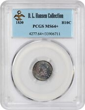 1830 H10c PCGS MS64+ ex: D.L. Hansen - Colorful Toning - Early Half Dimes