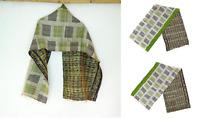 Handmade Silk Kantha Scarf Neck Wrap Stole Dupatta Hand Quilted Women Reversible