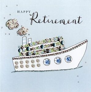 Happy Retirement Buttoned Up Greeting Card Button Embellished Cards