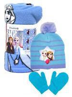 """Frozen 2 Throw Blanket 45"""" x 60"""" w/ Anna Elsa Toddler Knit Beanie & Mitten Set"""