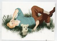 Carte Postale Tintin allongé dans l'herbe et Milou. Pastiche IMAGES DE TINTIN