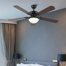 """52"""" Ceiling Fan with Remote Control Led Light Reversible Motor Blades Black"""