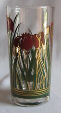 12 Oz Highball Glass Tumbler Vintage Culver LTD Pattern CUV62 Red & Gold Flowers