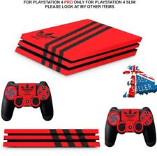 ADIDAS ORANGE & BLACK PS4 PRO SKINS DECALS  WRAP TEXTURED VINYL STICKER