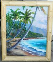 """Hawaii vintage oil/board, signed mystery artist, 16 x 20 """"bamboo"""" frame"""