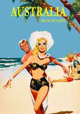 VINTAGE TRAVEL POSTER * AUSTRALIA BEACH LIFE  LARGE A3 SIZE CANVAS ART PRINT