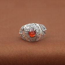 Men's Real 925 Sterling Silver Ring Garnet Cross Adjustable Size 7 to 12