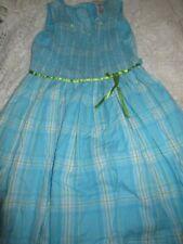 euc Sweet Heart Rose sea blue plaid smocked dress girl 14 free ship Usa