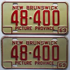 New Brunswick 1969 License Plate PAIR - NICE QUALITY # 48-400