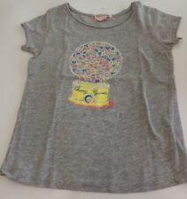 Bonpoint Girls Size 6 Gray Short Sleeve Gumball Tee Shirt Ss18 Euc