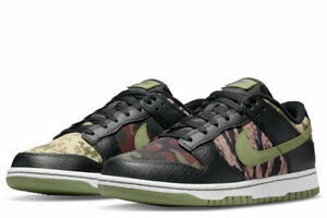 "Nike Dunk Low SE ""Crazy Camo"" Black/Oil Green-White DH0957-001 Size 7-10 NEW"