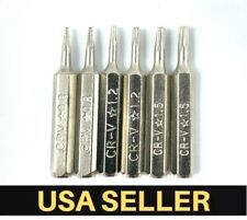 6 PCS Pentalobe Screwdriver Bits Set P2 P5 P6 5-Point 5-Star 0.8 mm 1.2 1.5 Torx