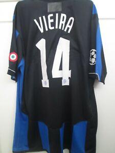 Inter Milan 2006-2007 Match Worn Vieira 14 Home Football Shirt Size Large /15619