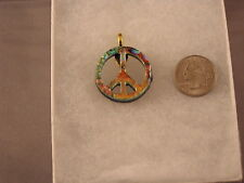 Orange Peace Love Groovy Awesome! Peace Sign Glass Pendant Gf24 Red