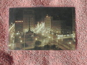 Unposted Postcard Cleveland Public Square at Night. Soldiers Sailors Monument
