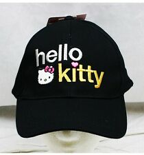 NWT Sanrio Hello Kitty Baseball Cap Hat Black-  Child Size Licensed Sanrio