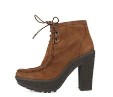 Womens Diane Von Furstenberg Rum Brown Leather Suede Ankle Booties Shoes Size 7