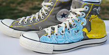 Gray Hand Painted High Top Converse. Men's Size 7. Used, Good Condition