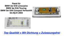 Licencia placa de iluminación LED superior de 2x con sello BMW 3er E46 Compact a Bj01.2003