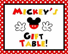 """Disney Mickey Mouse 8.25x10.75"""" Birthday Cardstock Gift Table Sign in Red/Blk"""