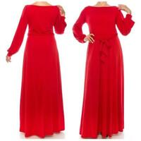 Womens Janette Plussize Fashion Red Long Sleeve Casual Maxi Dress