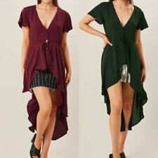 Short Sleeve Button-Down Green Tops & Shirts for Women