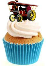 Novedad Locomotora De Vapor 12 Comestibles Stand Up Oblea papel Cake Toppers Cumpleaños