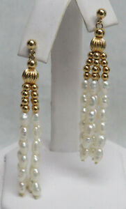 BEAUTIFUL 14K GOLD & PEARLS CHANDELIER EARRINGS