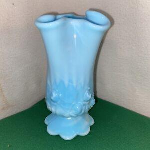 Vtg Fenton Blue Slag Swirl Ruffled Top Pedestal Cabbage Rose Flower Bud Vase