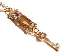 DOORKNOB KEY PENDANT gold golden Alice in Wonderland lock steampunk necklace 3F