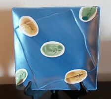 Style Eyes By Baum Bros. Asian Collection Square Blue Dinner Plate w/ Leaves