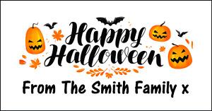 48 Personalised Happy Halloween Stickers Labels Party Bag Sweet Cones Pumpkins