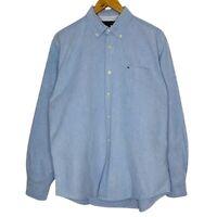 Tommy Hilfiger Regular Fit Chambray Blue Mens Button Up Shirt Size Medium
