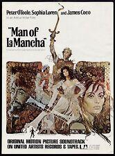 "1972 PETER O'TOOLE & SPHIA LOREN ""MAN OF La MANCHA"" MOVIE PROMO AD"