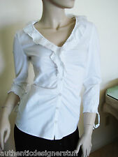 PHILOSOPHY White Cotton Blend Ruffled Neckline Button Down Blouse ,Top, Size 2