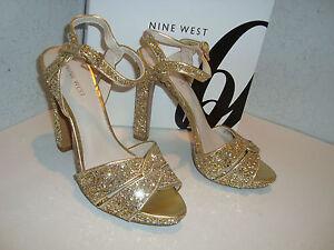 Nine West New Womens Hotlist Gosil Gold Glitter Sandals Shoes 10 Medium