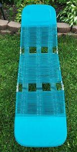Vintage Folding Aluminum Chaise Lounge Lawn Beach Chair Vinyl Tubing Blue / Teal