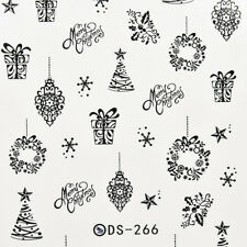 Water Transfer Nails Art Sticker Merry Christmas Elements Nail Wrap Sticker