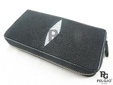 PELGIO Genuine Stingray Skin Leather Zip Around Clutch Wallet Long Purse Black