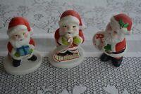 Lot of 3 Santa Claus Hand Painted Ceramic Mid Century Vintage Figures Christmas